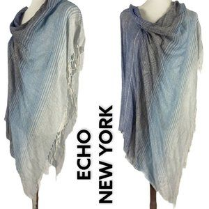 Echo New York Topper Poncho Ombre Fringe Throw NEW